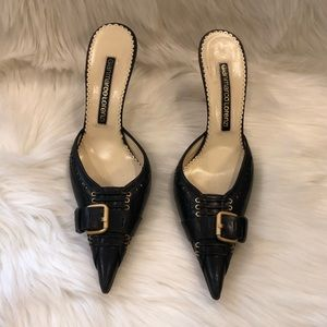 Gianmarco Lorenzi Leather Pointed Buckle Mules 37